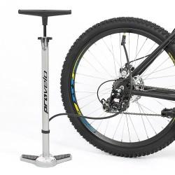 Fahrrad Luftpumpe in silber, Standluftpumpe mit Manometer und Universal Doppelpumpenkopf, inkl. Adapter Set by Provelo
